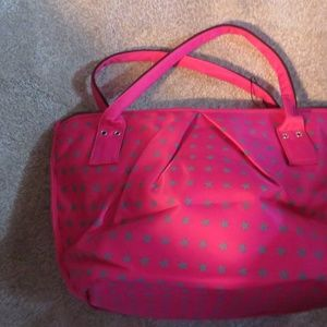 ESBAG- HANDBAG-BRT. PINK WITH GOLD STARS LARGE